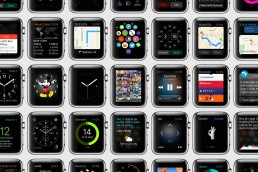 Grid of WatchOS user interface designs showing a wide variety of applications.