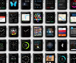 Grid showing a wide array of Apple Watch user interface designs.